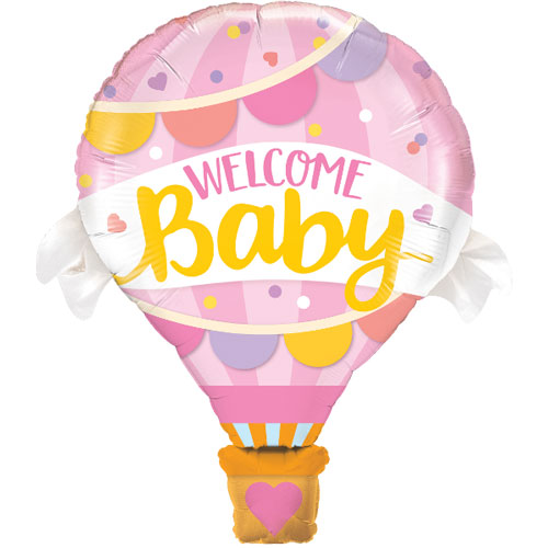 Welcome Baby Pink Baby Shower Helium Foil Giant Qualatex Balloon 107cm / 42 in Product Image