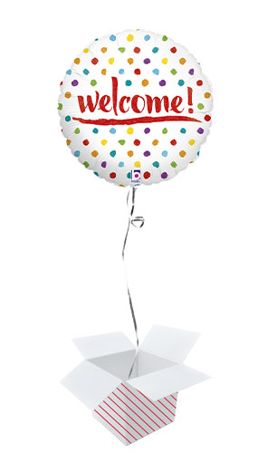 Welcome Dots Holographic Round Foil Helium Balloon - Inflated Balloon in a Box Product Image