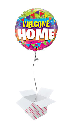 Welcome Home Pennants Round Foil Helium Qualatex Balloon - Inflated Balloon in a Box Product Image