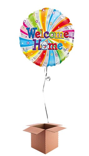 Welcome Home Swirl Round Foil Balloon - Inflated Balloon in a Box Product Image