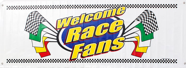 Welcome Race Fans Jumbo Plastic Sign Banner - 60 x 21 Inches / 152 x 53cm Product Image