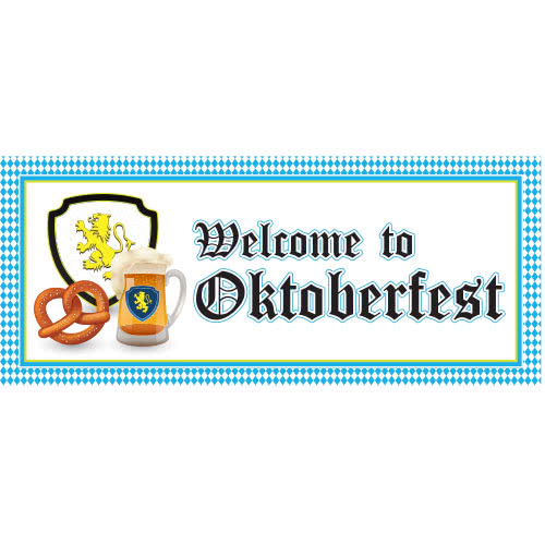 Welcome To Oktoberfest Pattern PVC Party Sign Decoration 60cm x 25cm Product Image