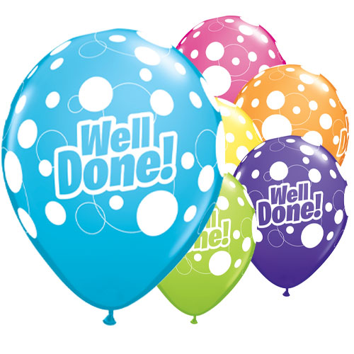 Well Done Dots Assorted Latex Helium Qualatex Balloons 28cm / 11 in - Pack of 25 Product Image