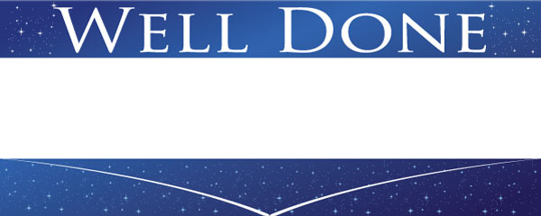 Well Done Blue Sky & Stars Design Small Personalised Banner- 4ft x 2ft