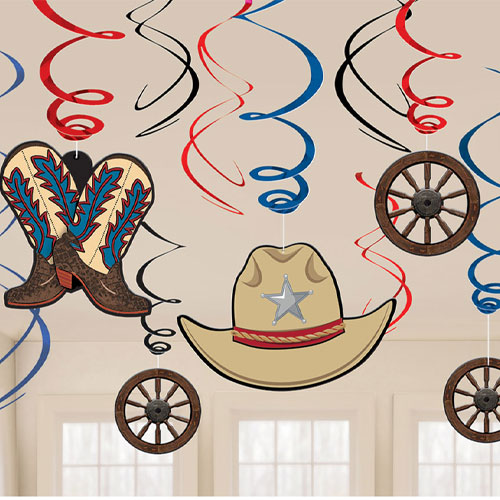 Western Hanging Swirl Decorations - Pack of 12