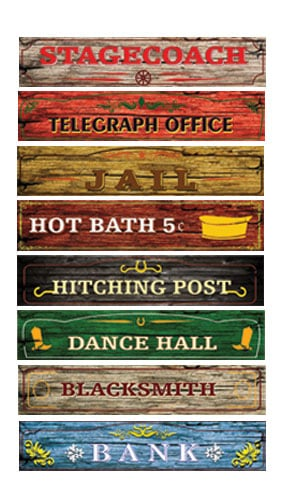 Western Street Sign Decorations 100cm x 20cm Pack of 8