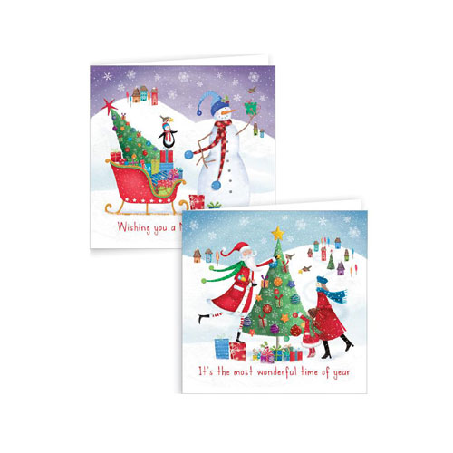 Assorted Glitter Whimsical Christmas Cards with Envelopes 15cm - Pack of 12