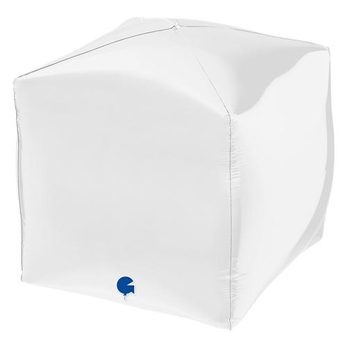 White 4D Square Shape Foil Helium Balloon 38cm / 15 in