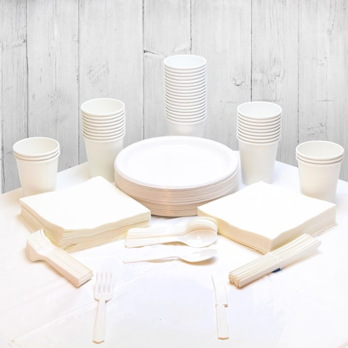 White 54 Person Party Pack Product Image