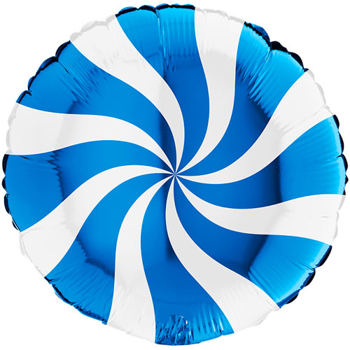 White & Blue Candy Swirl Round Foil Helium Balloon 46cm / 18 in