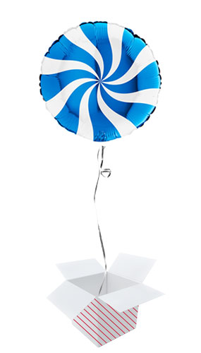 White & Blue Candy Swirl Round Foil Helium Balloon - Inflated Balloon in a Box Product Image