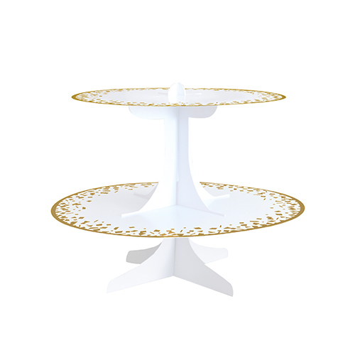 White & Gold Foiled Cardboard 2 Tier Cupcake Stand