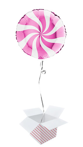 White & Hot Pink Candy Swirl Round Foil Helium Balloon - Inflated Balloon in a Box Product Image