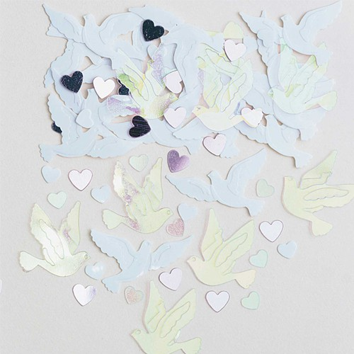White and Iridescent Wedding Doves Table Confetti - 14 Grams