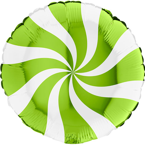 White & Lime Green Candy Swirl Round Foil Helium Balloon 46cm / 18 in Product Image