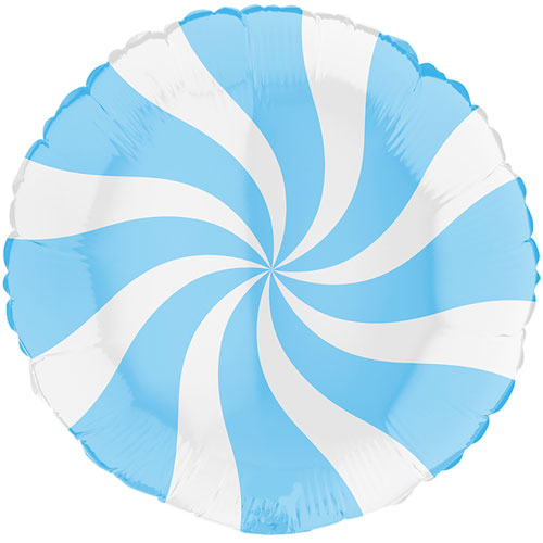 White & Matte Blue Candy Swirl Round Foil Helium Balloon 46cm / 18 in Product Image