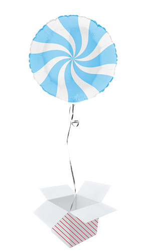 White & Matte Blue Candy Swirl Round Foil Helium Balloon - Inflated Balloon in a Box