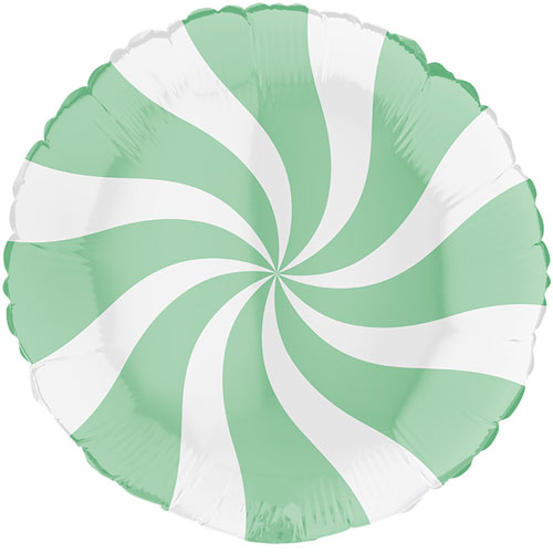 White & Matte Green Candy Swirl Round Foil Helium Balloon 46cm / 18 in Product Image