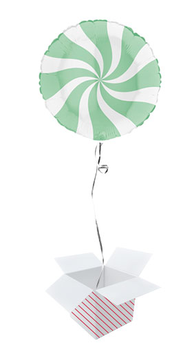 White & Matte Green Candy Swirl Round Foil Helium Balloon - Inflated Balloon in a Box