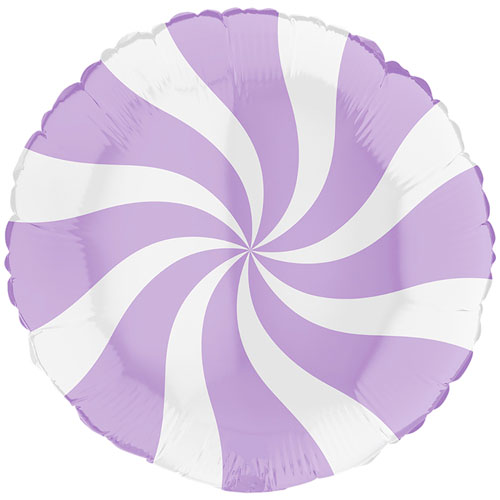 White & Matte Lilac Candy Swirl Round Foil Helium Balloon 46cm / 18 in