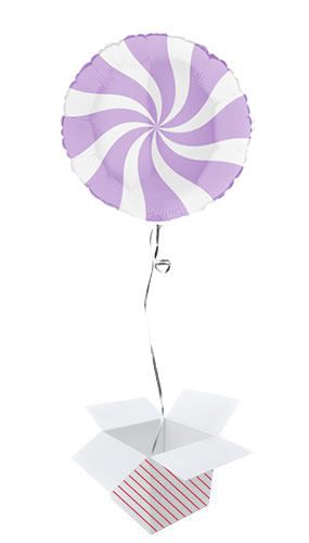 White & Matte Lilac Candy Swirl Round Foil Helium Balloon - Inflated Balloon in a Box