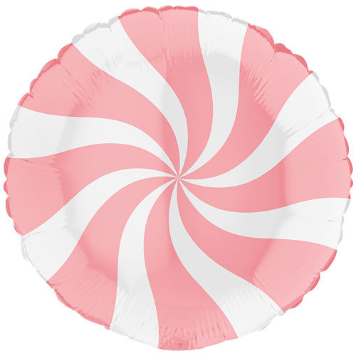 White & Matte Pink Candy Swirl Round Foil Helium Balloon 46cm / 18 in Product Image