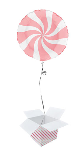 White & Matte Pink Candy Swirl Round Foil Helium Balloon - Inflated Balloon in a Box
