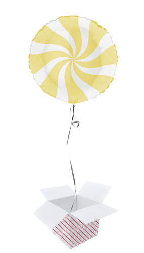 White & Matte Yellow Candy Swirl Round Foil Helium Balloon - Inflated Balloon in a Box Product Image
