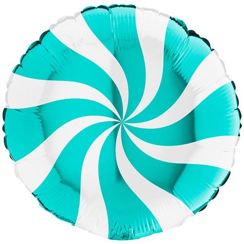 White & Tiffany Blue Candy Swirl Round Foil Helium Balloon 46cm / 18 in