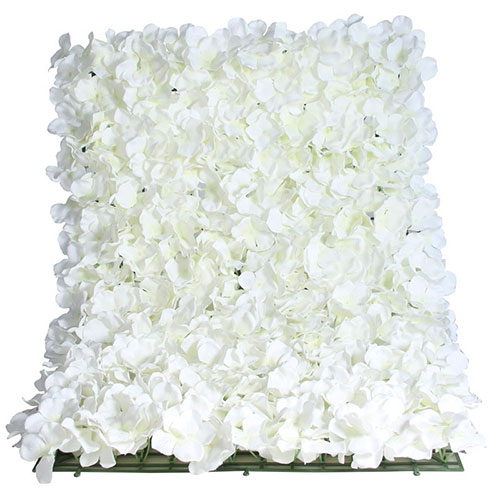 White Artificial Hydrangea Silk Flower Wall Panel 60cm x 40cm Product Image