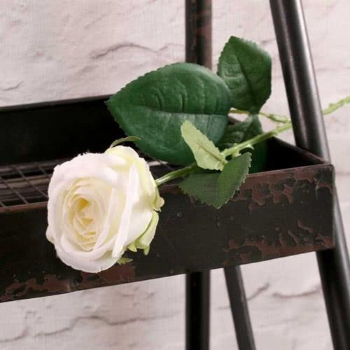 White Buckingham Rose Artificial Silk Flower 40cm