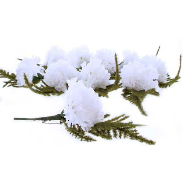 White Button Hole Fabric Carnations - Pack of 12