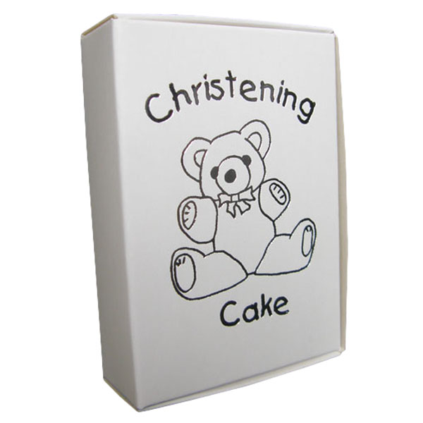 White Cake Boxes with Christening Cake Print - Pack of 10