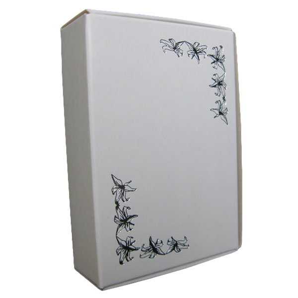White Cake Boxes with Silver Motif Print - Pack of 10