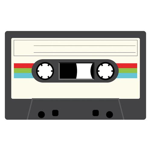 White Cassette Tape PVC Party Sign Decoration 37cm x 23cm Product Image