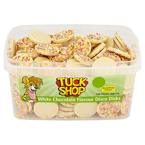 White Chocolate Disco Discs With Sprinkles Vegetarian Sweets - Pack of 120 Product Image