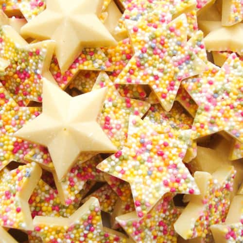 White Chocolate Star With Sprinkles Sweet Product Image