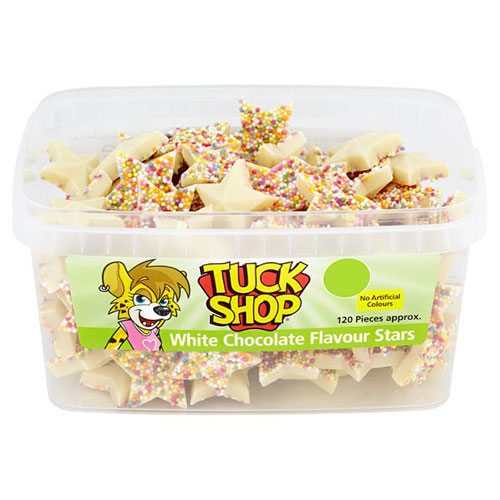 White Chocolate Stars With Sprinkles Vegetarian Sweets - Pack of 120 Product Image