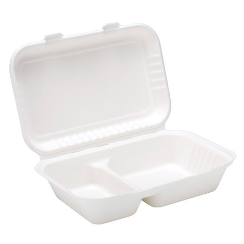 White Compostable Bagasse 2 Compartment Lunch Box 25cm - Pack of 125 Product Image
