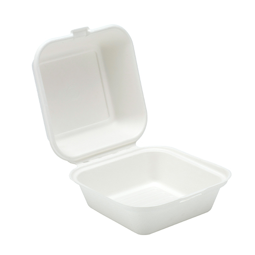 White Compostable Bagasse Burger Box 15cm - Pack of 125 Product Image