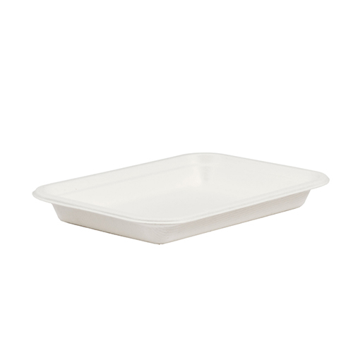 White Compostable Bagasse Chip Trays 18cm - Pack of 25 Product Image