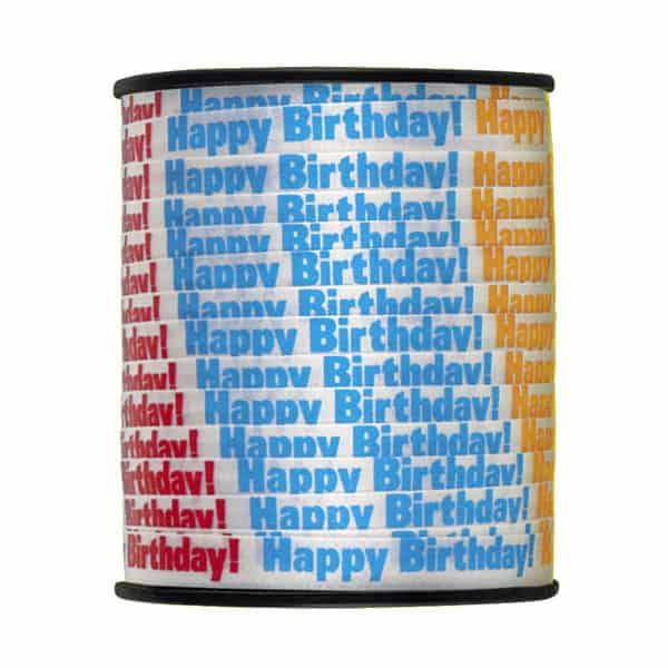 White Happy Birthday Printed Curling Ribbon - 75 yd / 68.5m Product Image