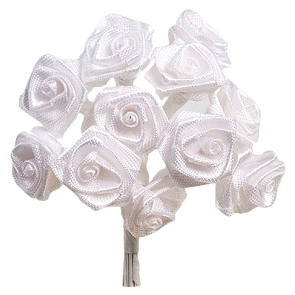 White Fabric Ribbon Roses - 12 Bunches of 12 Product Image