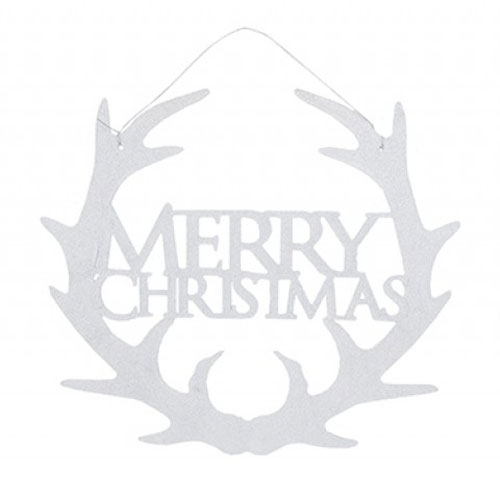 White Glitter Merry Christmas Hanging Decoration 30cm Product Image