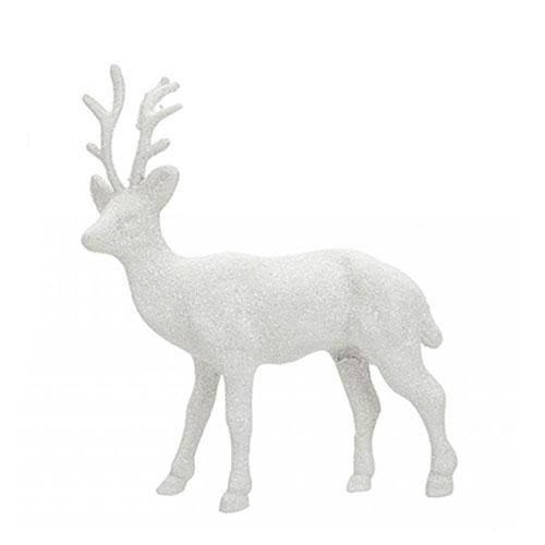 White Glitter Reindeer Christmas Decoration 17cm