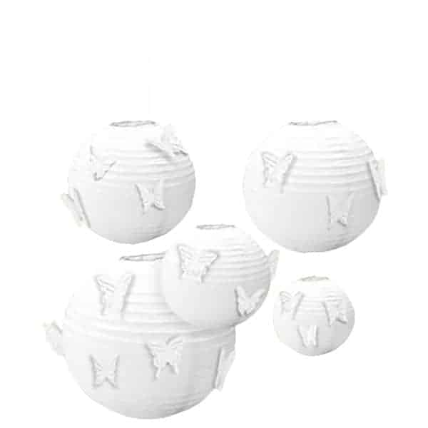 White Hanging Paper Lanterns With Butterfly Attachments - Pack of 5