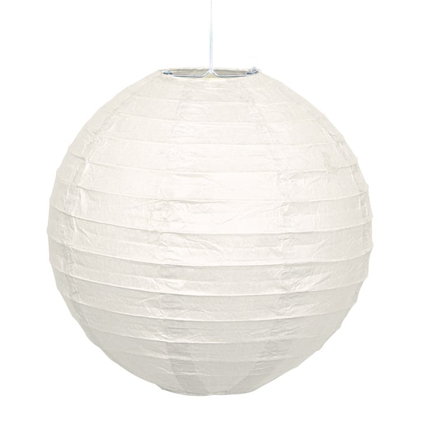 White Hanging Round Paper Lantern 25cm Product Image