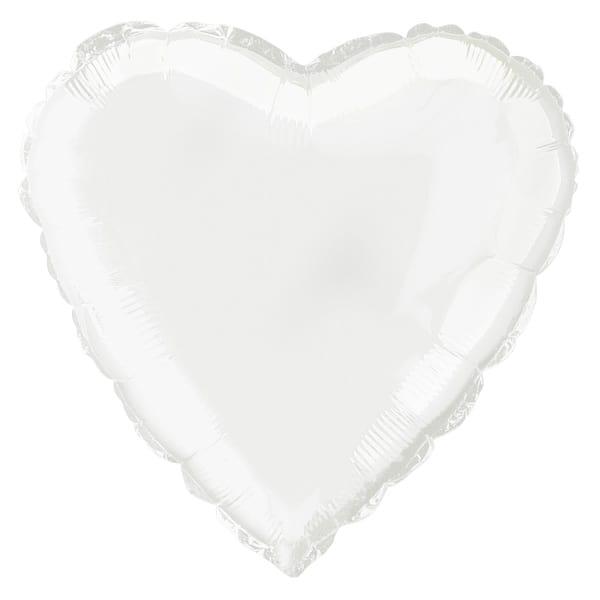 White Heart Foil Helium Balloon 46cm / 18Inch