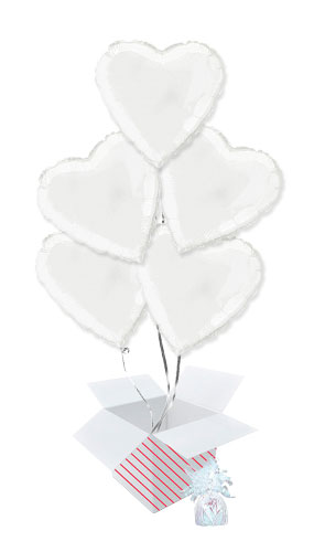 White Heart Foil Helium Balloon Bouquet - 5 Inflated Balloons In A Box