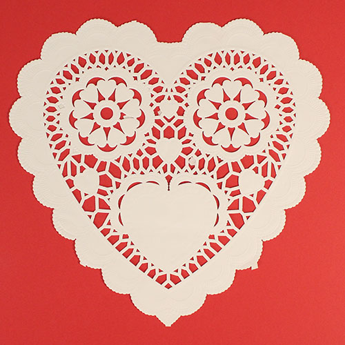 White Heart Shaped Paper Doilies - 10 Inches / 25cm - Pack of 12